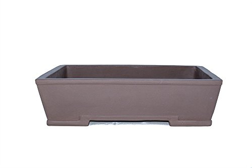 "Unglazed Large 13"" Yixing Purple Clay Zisha Rectangular Thin and Shallow Ceramic Porous Bonsai Pot (PA10-1)"