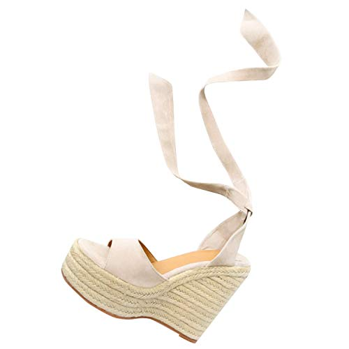 Fashare Womens Open Toe Tie Lace Up Espadrille Platform Wedges Sandals Ankle Strap Slingback Dress Shoes (9 B(M) US, Beige)