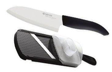 (Kyocera Advanced Ceramic Revolution Series 5-1/2-inch Santoku Knife and Adjustable Slicer Set, Black)
