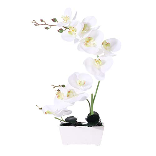 Orchid Plant  For Artificial Flowers,Orchids Artificial,Orchid Arrangement ,Orchid Plant  Perfect Packaging 11 Heads 4 Color With Woodiness Vase For Environmental Protection (Large Arrangements Orchid)