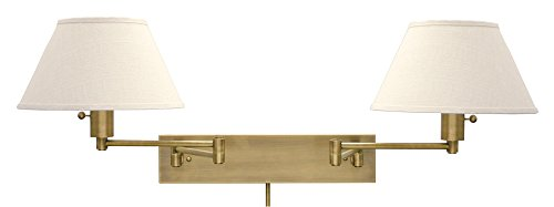 House Of Troy WS14-2-71 Home/Office Collection Double Wall Sconce Swing, Antique Brass with White Linen Hardback