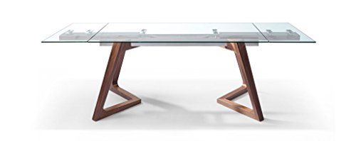 Modern Glass Conference Table with Angled Solid Wood Legs (Extends from 63' to 95')
