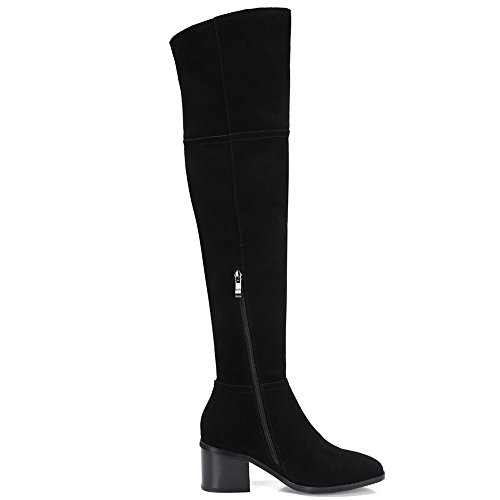 Charming Handmade Black Heel Seven Nine The Over Leather Toe Suede Women's Round Knee Sexy Boots Chunky vqpxzqZa