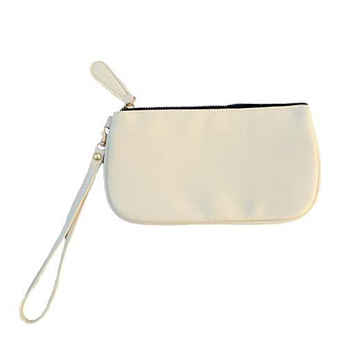 (MONOBLANKS Leather Wristlet Wallet Small Phone Purse Handbag (Cream))