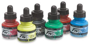 Daler-Rowney FW Acrylic Artists Ink, Set of 6 Primary Colors (160100006) by Daler Rowney