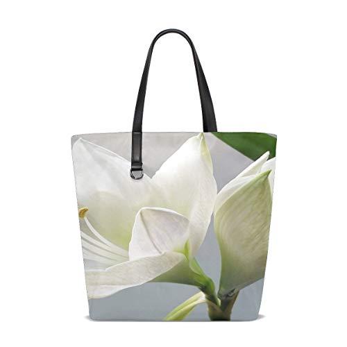 (ENEVOTX Women Nature Petals Plant White Flower Floral Lilly Handle Satchel Handbags Shoulder Bag Tote Purse Messenger Bags )
