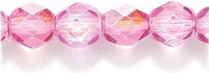 Preciosa Czech Fire 6 mm Faceted Round Polished Glass Bead, Rose Pink Coat Aurora Borealis, 100-Pack