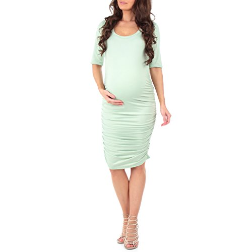 Women's Super Soft Side Ruched Maternity Dress by Mother Bee - Made in USA