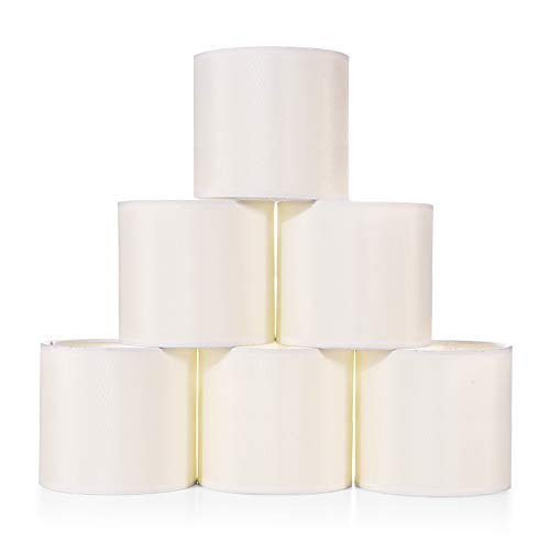 "Wellmet Chandelier Shades,ONLY for Candle Bulbs,Clip-on Drum Lamp Shades,Set of 6,5.5""x5.5""x5"", Cream White"
