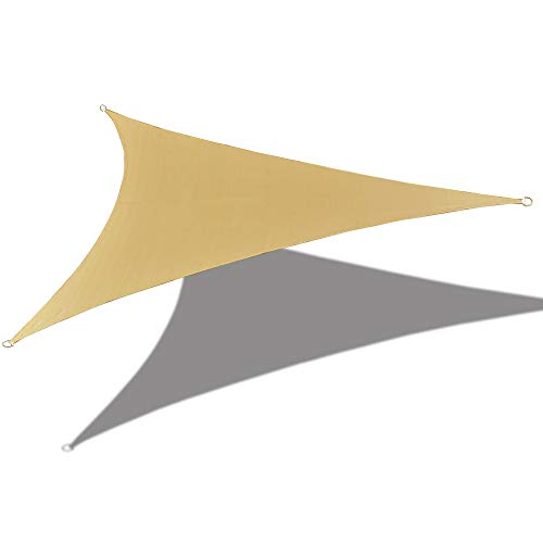 Alion Home 16'5'' x 16'5''x 16'5'' Triangle Waterproof Woven Sun Shade Sail in Vibrant Colors (Desert Sand)