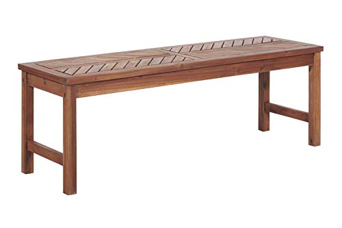 Walker Edison Furniture Company 53″ Modern Outdoor Wood Patio Dining Bench – Brown