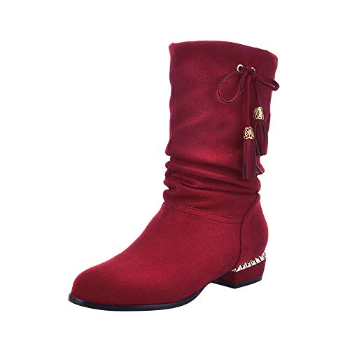(Realdo Women Mid Calf Boots Flock Solid Drawstring Tassle Strap Long Booties(US 9,Red))