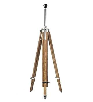 Lámpara de pie trípode de madera soporte de madera de teca maciza lámpara de pie decoración de madera natural