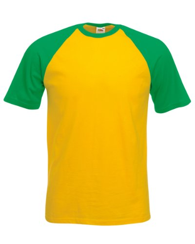 61026 Fruit of the Loom para hombre de manga corta algodón de béisbol T-Shirt camiseta talla S-2 X L Sunflower/Kelly Green