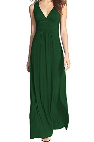 WOOSEA Women Sleeveless Deep V Neck Loose Plain Long Maxi Casual Dress