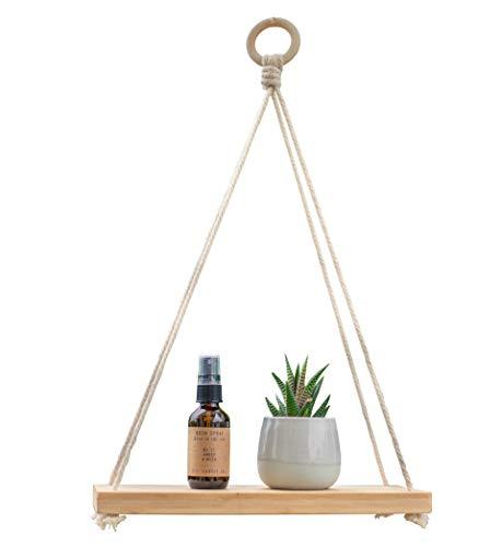 - Macrame Pure Bamboo Hanging Plant Shelf Indoor Swing Rope Floating Shelf 12 Inches Eco Friendly