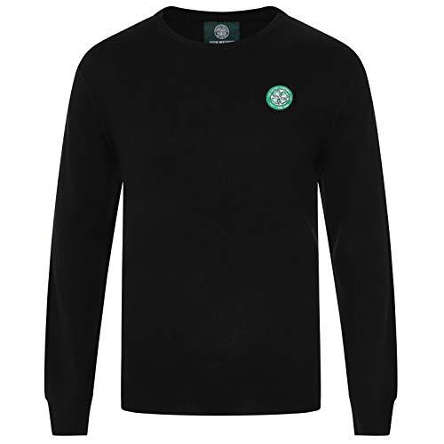 Celtic FC Official Soccer Gift Mens Knitted Crew Neck Jumper Black XXL