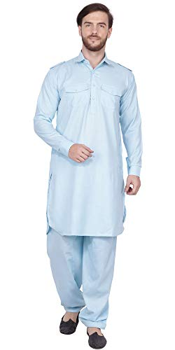 (SKAVIJ Men's Cotton Kurta Pajama Set Indian Pathani Dress (Medium, Turquoise))