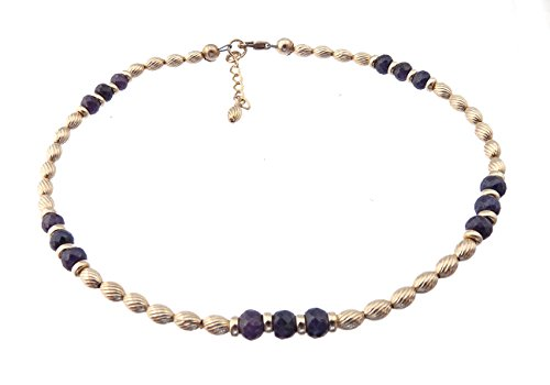 DAMALI 14K Gold Ankle Bracelets: Dark Blue Sapphire Beaded September Birthstone Jewelry by DAMALI by GemstoneGifts Handmade Jewelry