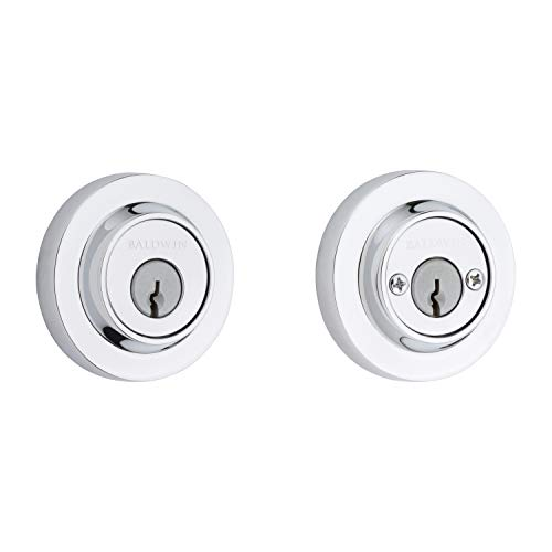 Baldwin Reserve 9BR3850-038 Contemporary Round Low Profile Double Cylinder Deadbolt in Polished Chrome