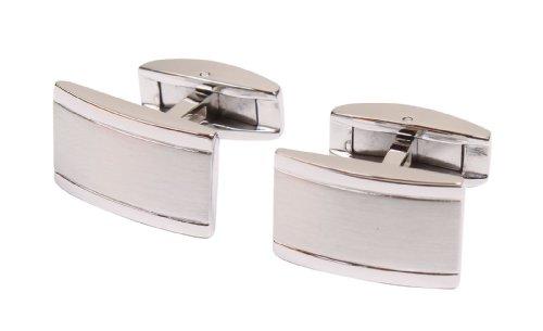 Simplicity Men's Stainless Steel Cufflinks in a Rectangular Shape/Design - Cufflinks Rectangular Steel