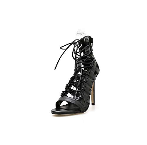 GHFJDO Women Ankle Strappy Roman Sandals New Peep Toe Shoes,Lace Up Casual Shoes Stiletto Heels Large Size,Black,40EU
