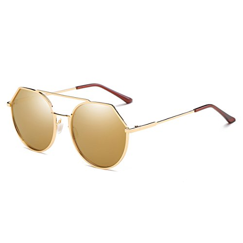 Unisex Oversize Sunglasses Metal Frame HD Polarized Light-Weighted Mirrored Lens (Tan, - Can't Through See You Sunglasses