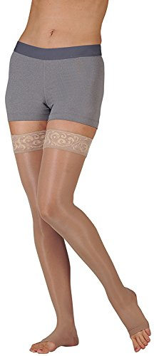 (Juzo Naturally Sheer Compression Thigh High w/Silicone Top Band Open Toe 15-20mmHg, II,)