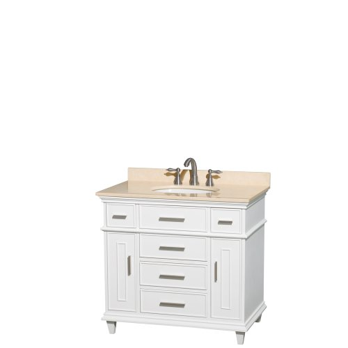 Wyndham Collection Berkeley 36 inch Single Bathroom Vanity in White with Ivory Marble Top with White Undermount Oval Sink and No Mirror