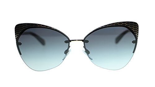 BVLGARI Round Women's Sunglasses BV6096 20288G Matte Black/Grey Gradient Lens - Gradient Grey