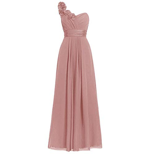 H.S.D Women's Simple Floral One Shoulder Long Bridesmaid Dresses Prom Gowns Dusty Rose