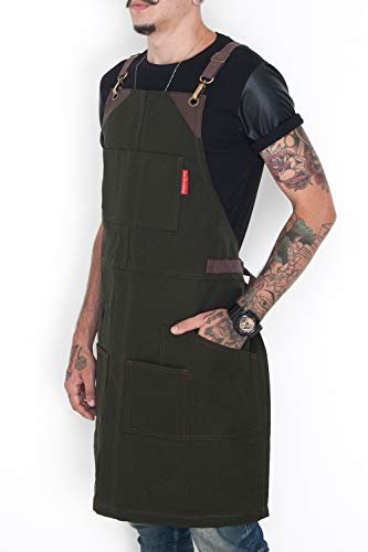 - Under NY Sky Cargo Forest Green Apron – Cross-Back with Heavy-Duty Waxed Canvas, Leather Reinforcement, Split-Leg – Adjustable for Men and Women – Pro Woodworker, Mechanic, Welder Aprons