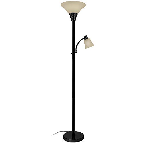 Reading Torchiere Light - Oneach Paddy Torchiere Floor Lamp with Reading Light Metal Standing Mother/Daughter Torch Lamps with Frosted Glass Shade for Living Room, Bedroom, Black