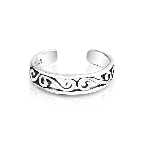 Cut-Out Celtic Swirl Filigree Thin Midi Band Toe Ring 925 Silver Sterling Adjustable