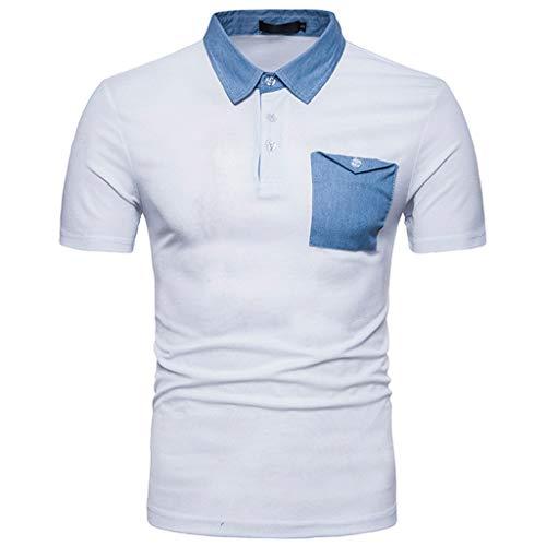 POQOQ T Shirts Polo Tops Blouse Moisture Wicking Dry Blend Polo Men's Playoff Polo Men's Golf Polo Mens Custom Slim Fit Polo Shirt M White ()