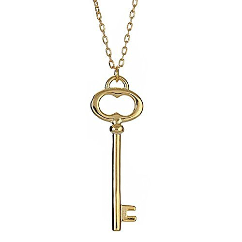 old Vermeil Plated .925 Sterling Forever Vintage Oval Key Necklace (Gold Vermeil Accents)