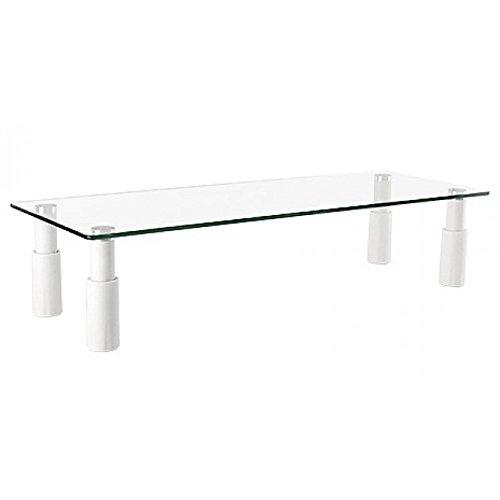 Ripiano Rialzo supporto base da tavolo scrivania per Monitor/TV/Notebook, in vetro, 58 x 21 x13 cm. (altezza regolabile da 8 a 13cm.) Non specificato