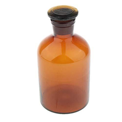 nouler Botella de Vidrio ámbar Juler 500 ML con Botella de reactivo de Laboratorio Recargable con Tapa