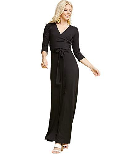 CLOVERY Women's V-Neck 3/4 Sleeve Waist Wrap Front Maxi Dress Black XL