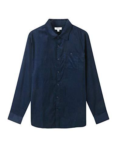 SAOVERE Men's Corduroy Long Sleeves Shirts Casual Big &Tall Button Down Comfort Navy Blue