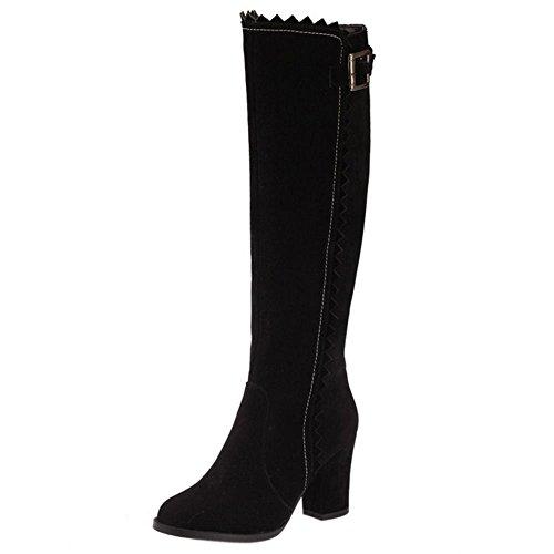 Negro Mujer Casual Mujer Negro Oversized Botas Invierno Zapatos Zanpa Alto b5d279