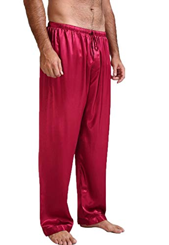 Mens Classic Satin Solid Color Comfortable Long Pajama Pants Sleep Bottoms with Drawstring (Red, M)