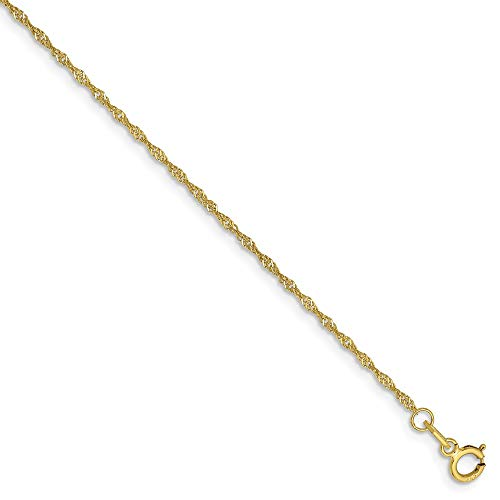 10k Yellow Gold 1.10mm Link Singapore Chain Anklet Ankle Beach Bracelet 9 Inch Fine Jewelry Gifts For Women For Her