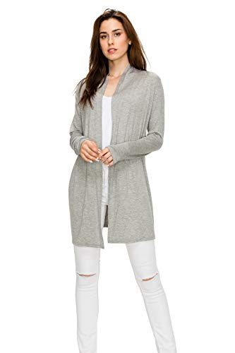 EttelLut Long Open Front Lightweight Soft Knit L/Sleeve Cardigan Sweaters Regular and Plus Size H Gray XXL
