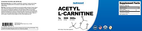 Nutricost Acetyl L Carnitine (ALCAR) 500 Grams 1000mg Per Serving High Quality Pure Acetyl L Carnitine Powder