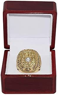 1973 NCAA NATIONAL CHAMPIONSHIP Vintage Rare Collectible High-Quality Replica Gold Football Championship Ring with Cherrywood Display Box Crimson Tide UNIVERSITY OF ALABAMA