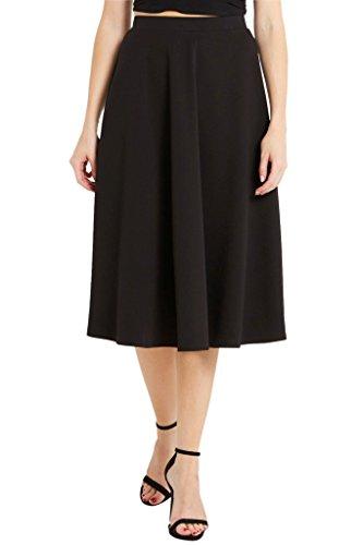 Womens Ribbed Flare Midi Skirt USA BK M