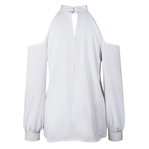 Automne Haut Pure Vintage Manche Blouse Casual Femme Loose Blanc Mode Longue Couleur Top Decha Shirt T Printemps Tee Nue Shirt Basique paule Lache gOxt8Zq5w