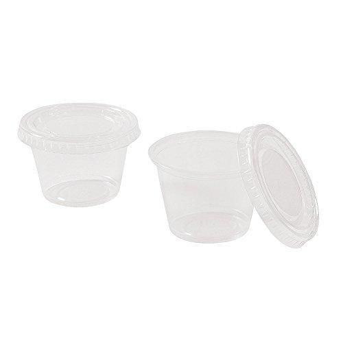 48 pieces - 2.5 oz Plastic Gelatin Jello Shot Cups with Lids restaurant condiment containers]()