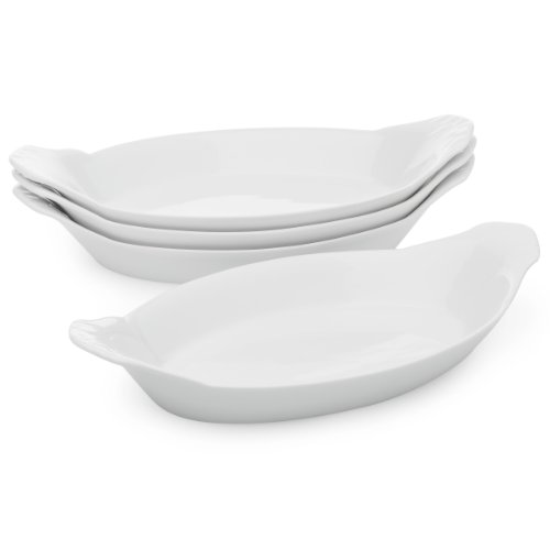 HIC Oval Au Gratin Baking Dishes, Fine White Porcelain, 10